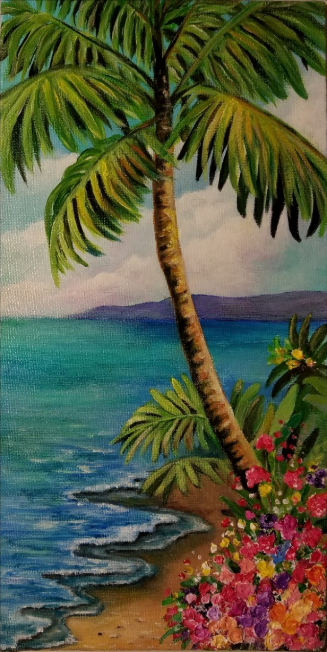 palm tree beach scene acrylic with modeling paste visit aiken sc