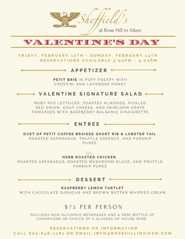 Valentine's Day Dinner at Rose Hill